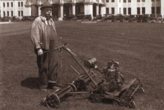 early basic cylindrical lawn mower invention - lawn design and idea