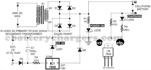 Mobile phone battery charger circuit diagram