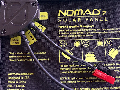 Anderson PowerPole connectors soldered onto the Nomad 7 solar panel