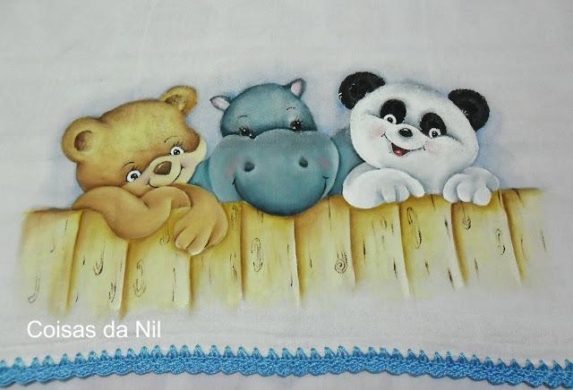 Fralda com ursinhos e hipopótamo, pintura em tecido