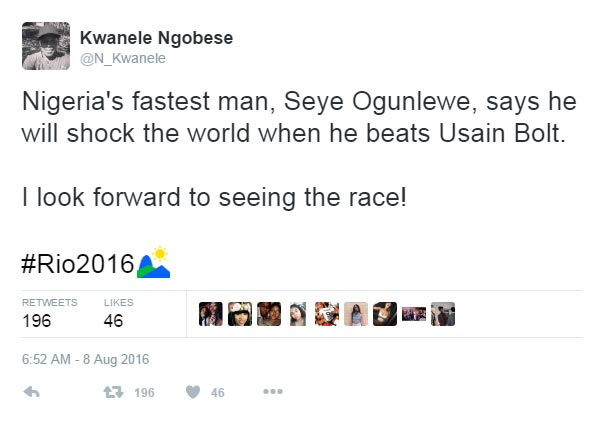 Team Nigeria's Seye Ogunlewe says he will beat Usain Bolt - see his reply
