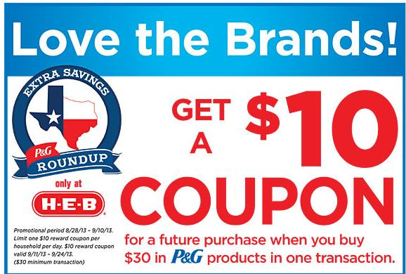 67dc36687e7b Just a heads up that starting tomorrow at H-E-B there will be a new  Catalina deal where you can earn a $10 coupon when you spend $30 on P&G  products.