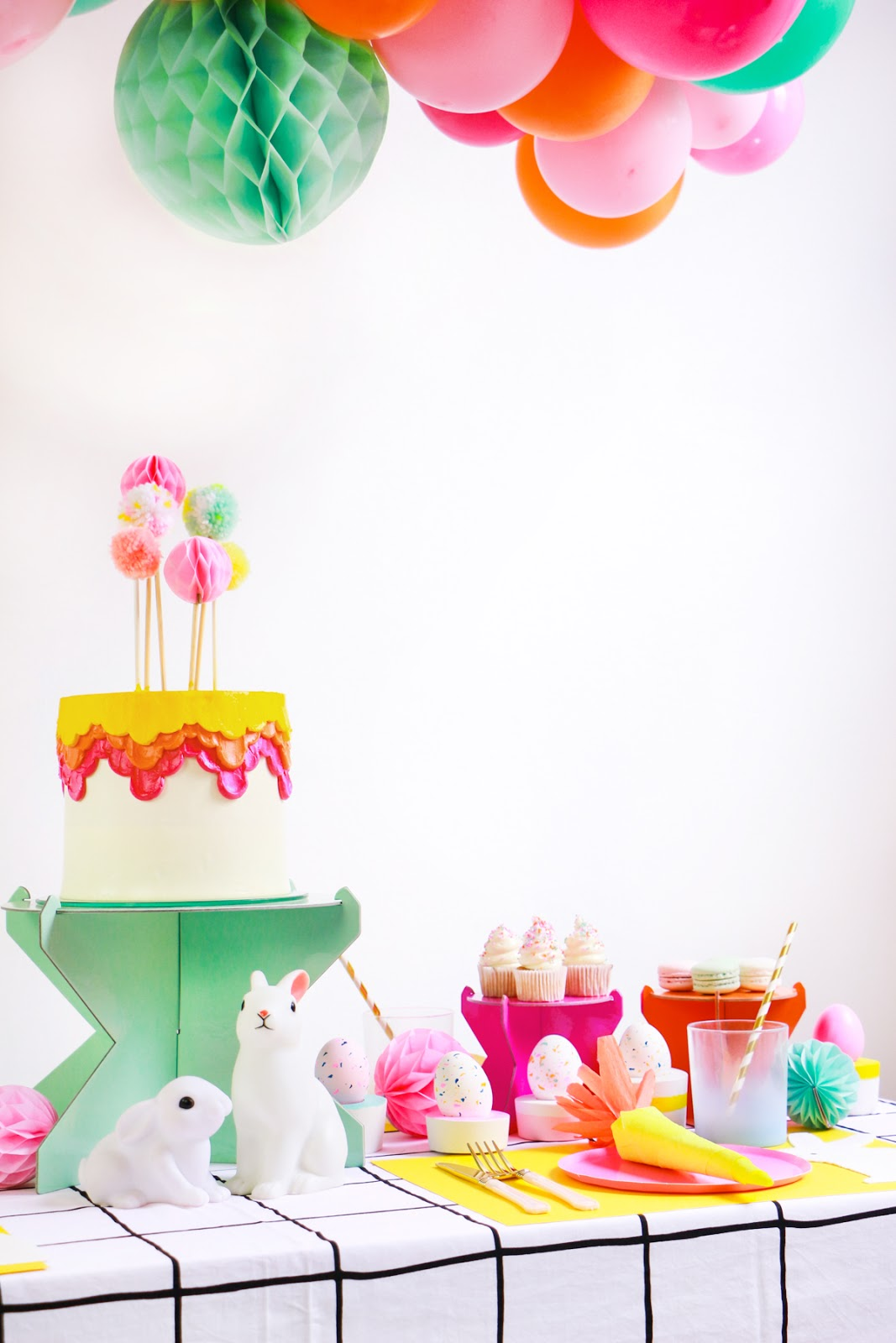 bright colorfull easter table decoration modern minimal carrot cracker terrazzo easter eggs diy