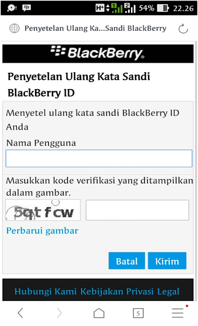 penyetelan ulang kata sandi blackberry