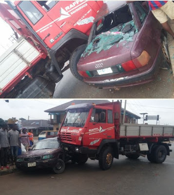 Truck Smashes Car In Benin City, Driver Survives (Photos)