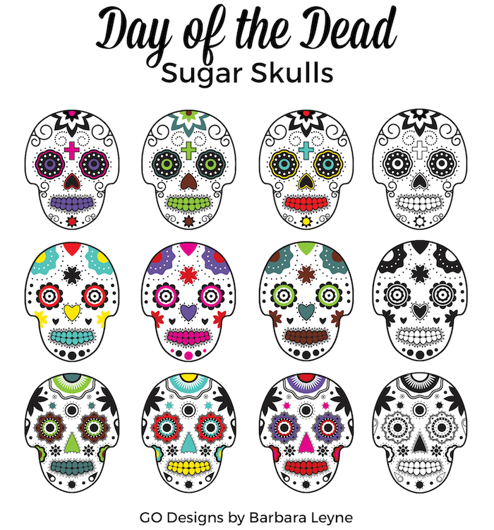 New Sugar Skulls Clipart: Day of the Dead