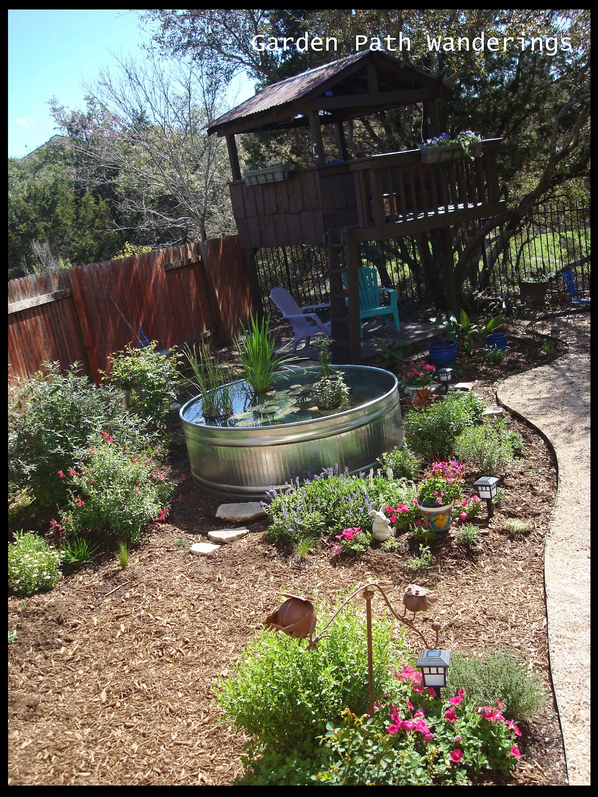 Garden Path Wanderings: Stock Tank Water Garden Is In