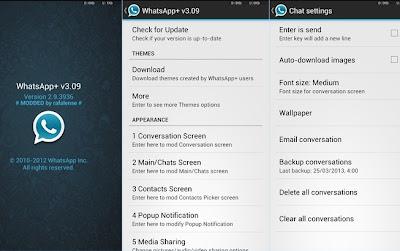 WhatsApp Plus para Android es básicamente un WhatsApp personalizado donde puedes cambiar un montón de colores, tamaños y muchos otros MODs visuales que la hacen realmente atractiva al usuario y lo mejor de todo no necesitas tener acceso root en tu androide. Si te aburriste del actual diseño de WhatsApp, y eres de aquellos Usuarios que le gusta mucho la personalización de su smartphone, esta aplicación será de tu agrado. Importante: En algunas Rom Stock No Funciona , probar instalar de las dos maneras (Borrando la app original e instalar, ó Sustituyendo la app WhatsApp Plus) Funciona correctamente en Roms