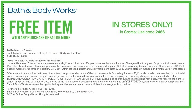 Body Works Store Bath Feb 2014 Coupons And
