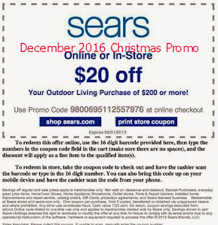 free sears coupons december 2016