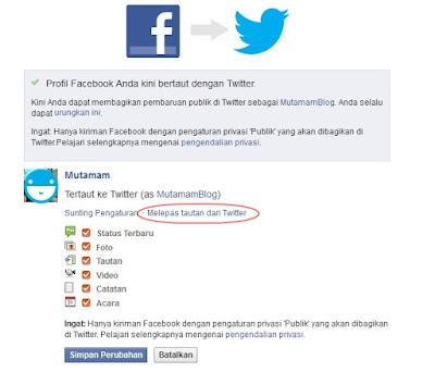 Melepas Hubungan Akun Facebook dengan Twitter