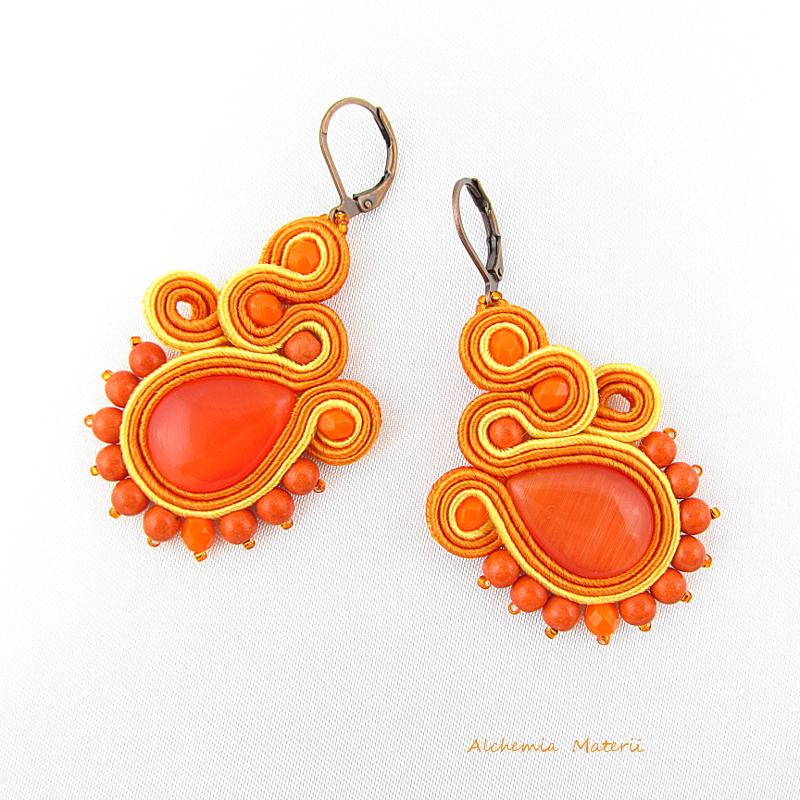 """Soutache earrings """" Orange"""""""
