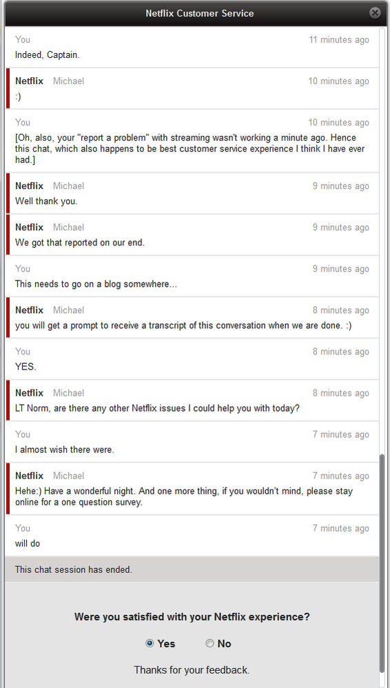 Stories of bad customer service from Netflix great customer service