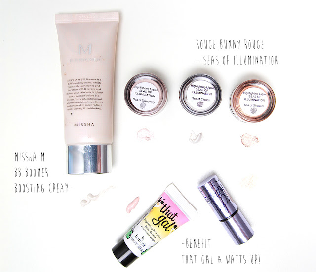 cream highlighters from missha, benefit and rouge bunny rouge