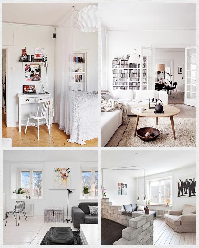 styl skandynawski w białych wnętrzach