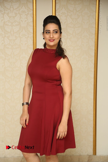Telugu Tollywood Anchor Manjusha Pos in Red Short Dress  0019.JPG
