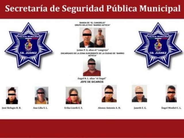 """Caen líder y siete sicarios de célula de """"Los Aztecas"""" brazo armado de El Cártel de Juarez"""