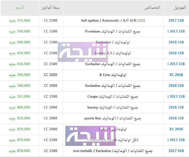 أسعار سيارة بي ام دبليو 2018 في مصر