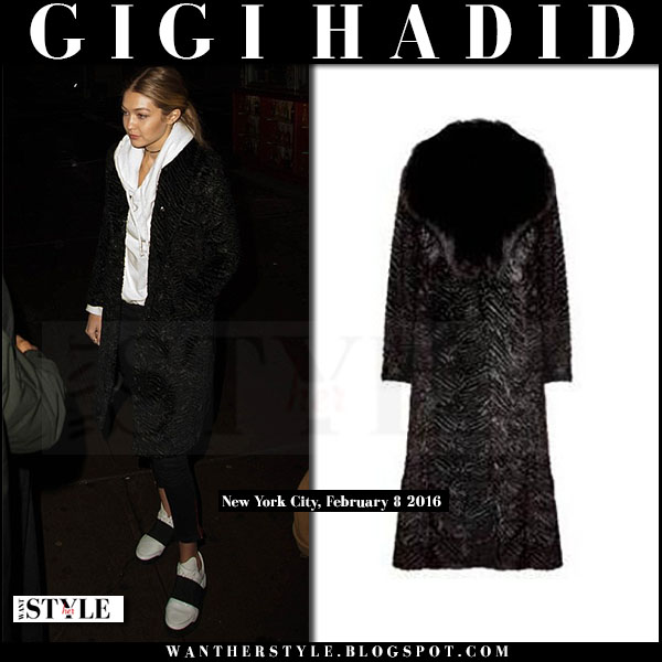 Gigi Hadid in black fox fur textured coat alice olivia what she wore model style