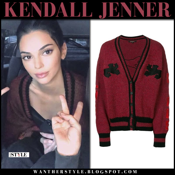 Kendall Jenner in burgundy knit cardigan yeezy model style casual july 20