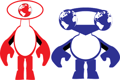 Two aliens: one with one huge eye with a globe for a pupil, the other with two globes for eyes.