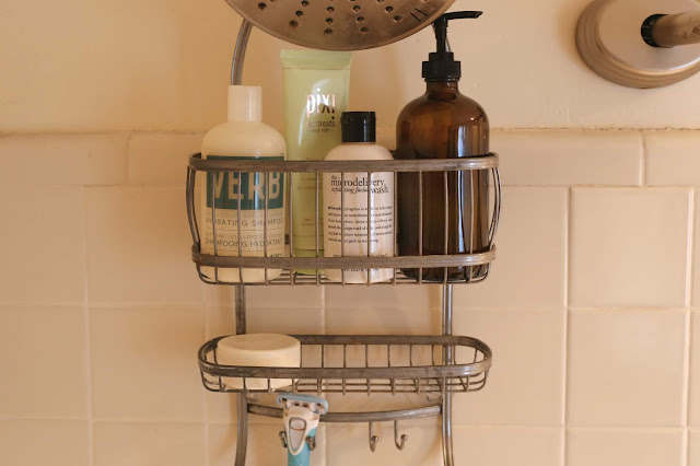 shower caddy feating daily shower essentials products