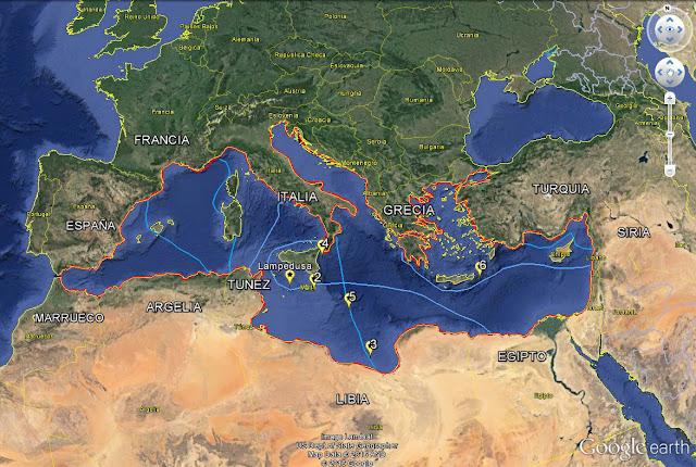 Mapa del Mediterráneo y sus rutas de la muerte