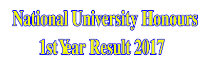 National University Honours 1st Year Result 2017 www.nu.edu.bd