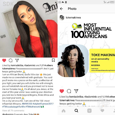 Toke Makinwa Celebrates Herself As She Emerges One Of The 100 Most Influential Africans 2017