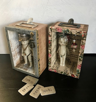 Denise Cerro mini assemblages with dolls