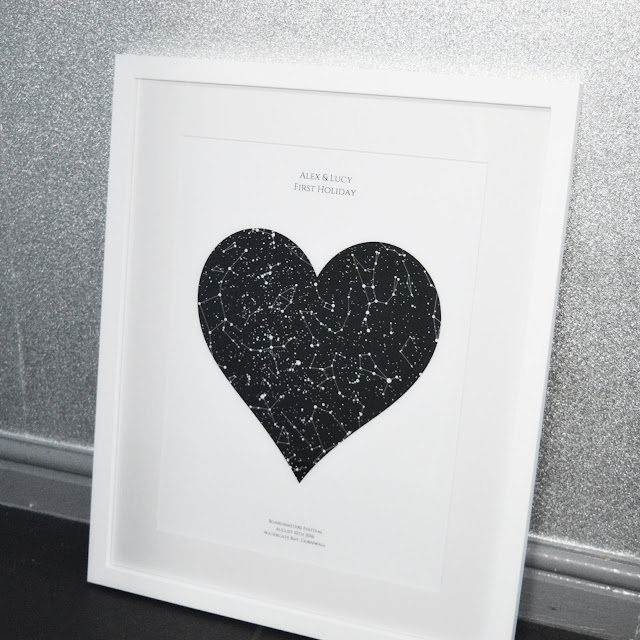 Posterhaste Personalised Heart Star Map Print