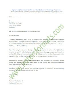Permission Letter to Police Station for Marriage Procession (Sample)