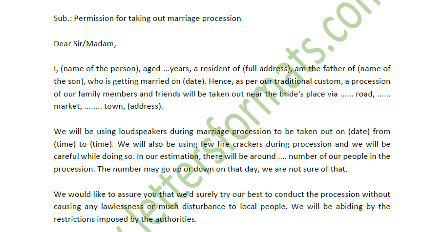 marriage letter format in english