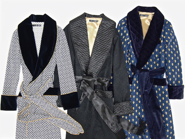 Mens silk jacquard dressing gown quilted robe