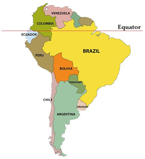 south america map equator ecuador large color