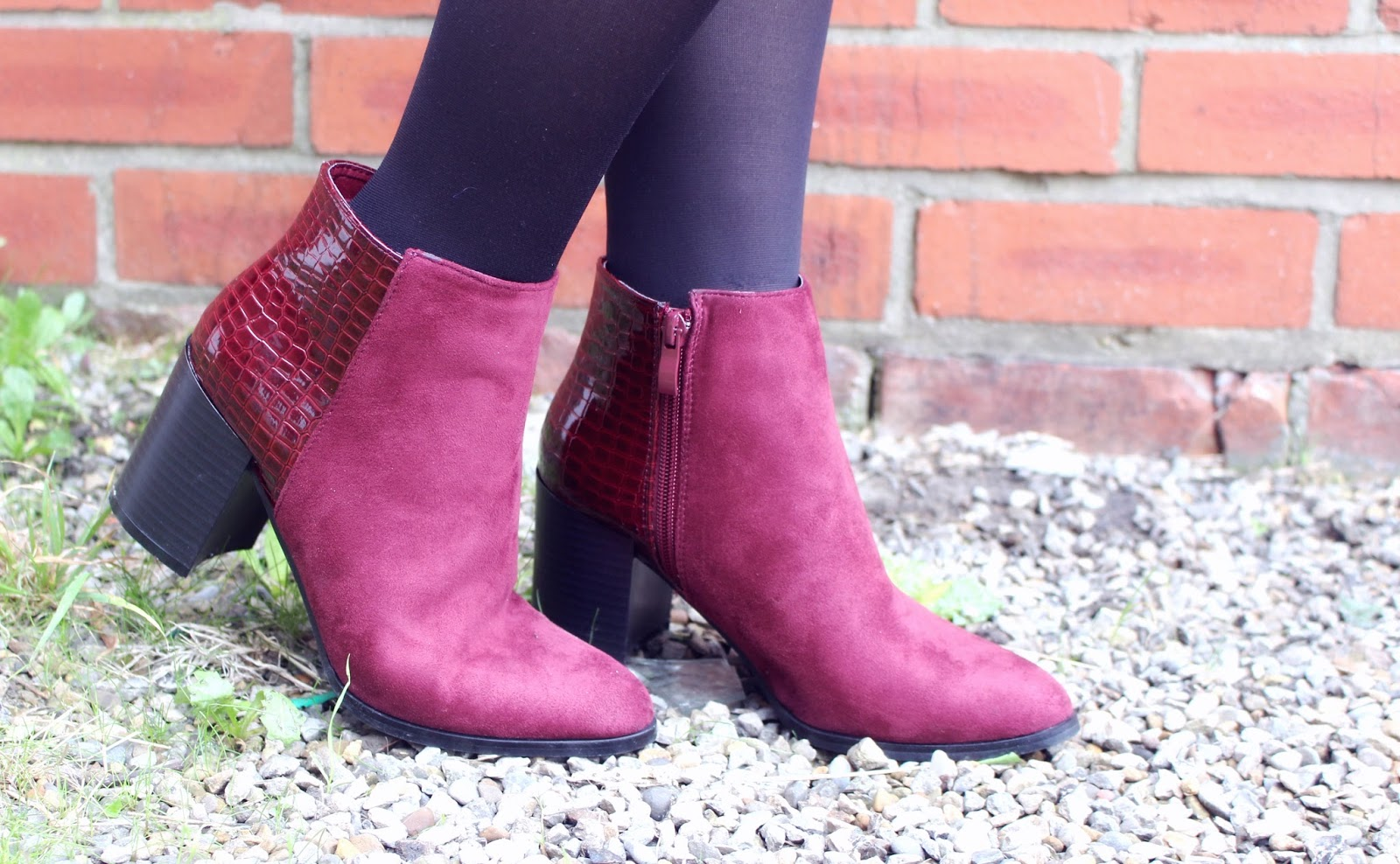 Pretty Little Thing Burgundy Boots
