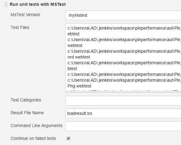 Create A Run Unit Tests With Mstest Step That Should Contain Mstest Version Defined In Global Tool Configuration Performance Load Tests Path