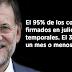 Las mentiras de Rajoy en creación de empleo: el 95% de los contratos son temporales
