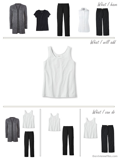 add a white tank top to a travel capsule wardrobe