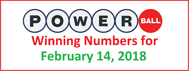 PowerBall Winning Numbers for Wednesday, 14 February 2018