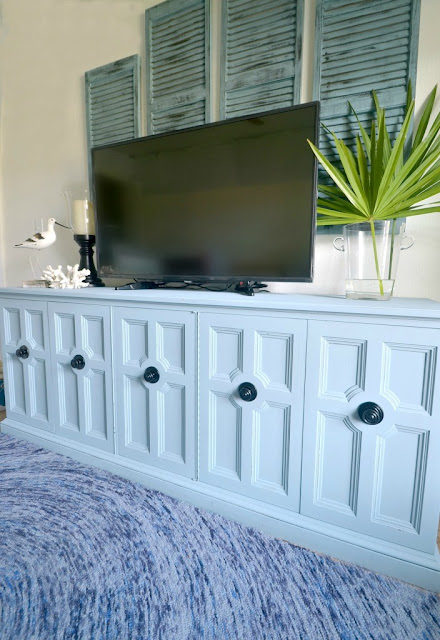 refinished media console, painted tv cabinet, revamped console