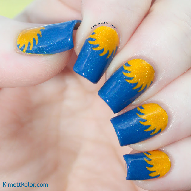 KimettKolor BlueYellow Sunshine Nail Art