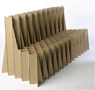 Sillón largo con cartón reciclado