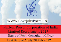 Nuclear Power Corporation of India Limited Recruitment 2017– Visiting Specialist/ Consultant