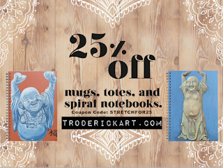 25% off Mugs, totes, and spiral notebooks at troderickart.com