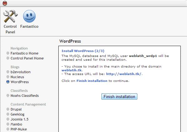 Install WordPress dengan Fantastico De Luxe