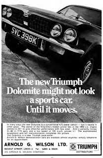 Arnold G Wilson Ltd Triumph Dolomite advert June 1972