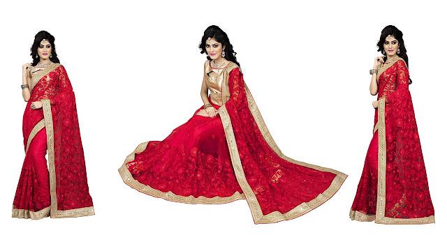 Aashvi Creation Embroidered, Self Design Fashion Net Saree  (Red)