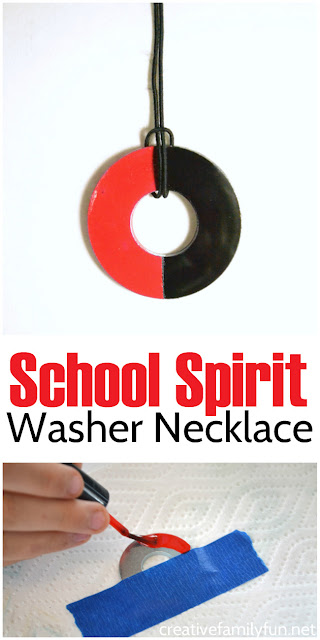 Make a couple of these School Spirit Washer Necklaces, one for you and one for you BFF.