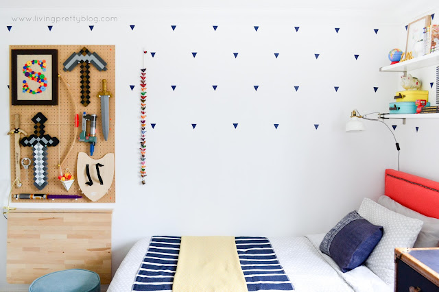 Pegboard Storage on Boys Side - Blue Red Mint Kids Room - Shared Kids Room Reveal - One Room Challenge